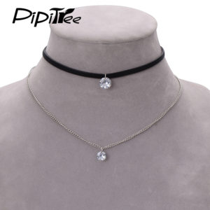 2017-New-Arrival-Trendy-Leather-Choker-Necklace-with-Crystal-Charm-Layer-Necklaces-Pendants-for-Women-Girls